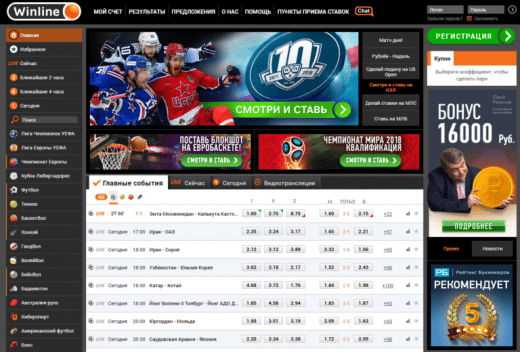 Линия и ставки в Винлайн.ру