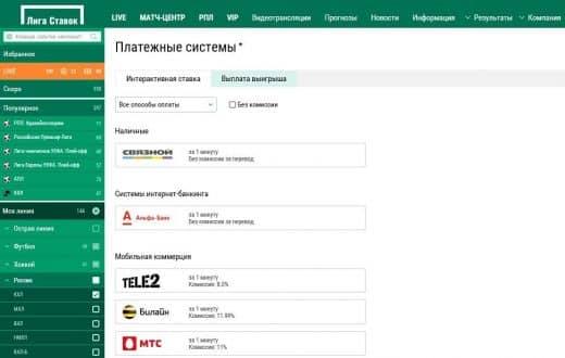 Пополнение и вывод средств в Лига Ставок.ру