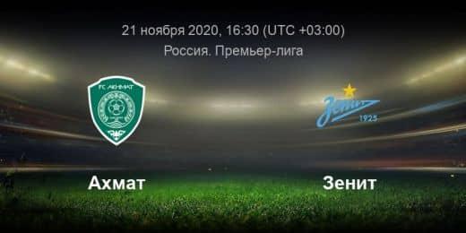 Прогноз на матч Ахмат – Зенит – 21.11.2020, 16:30
